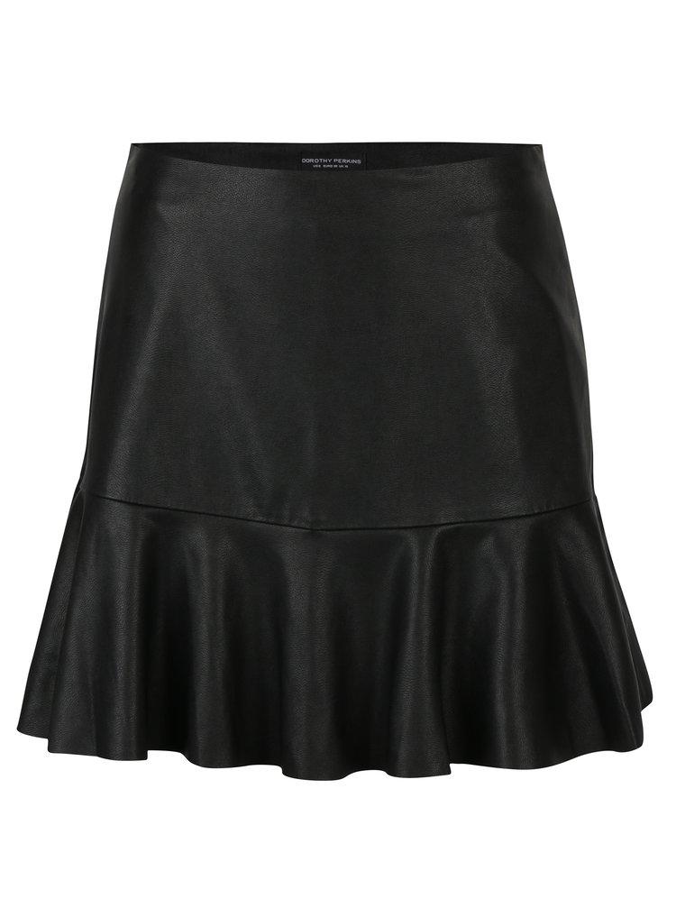 Černá koženková sukně s volánem Dorothy Perkins