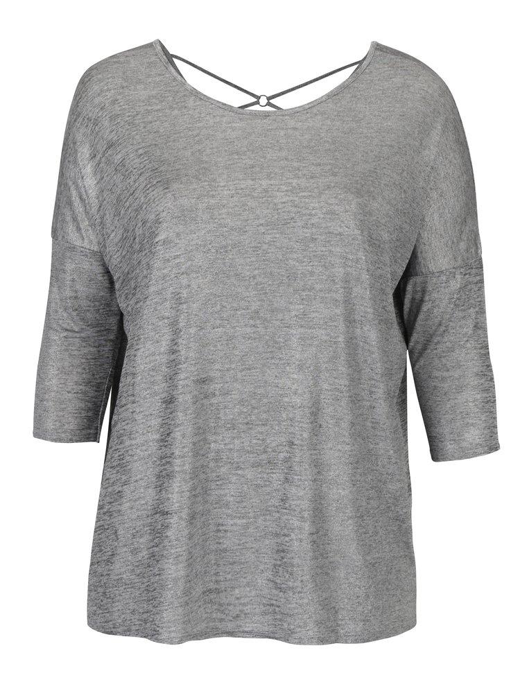 Šedé žíhané třpytivé tričko s 3/4 rukávem Dorothy Perkins Curve
