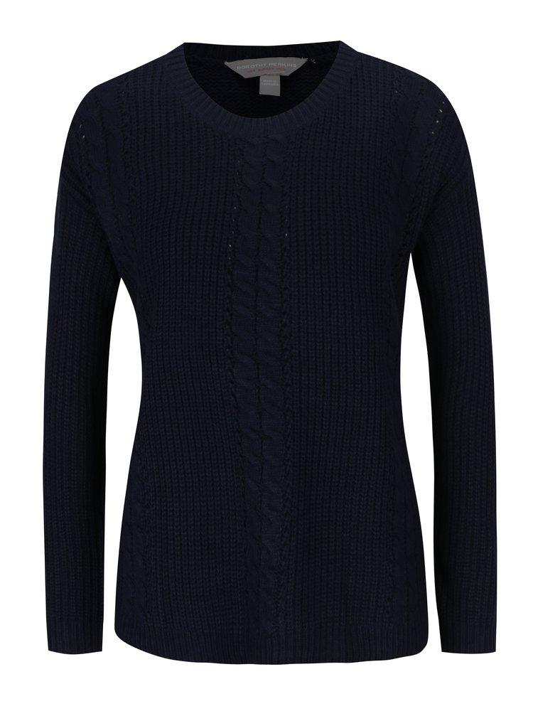 Tmavě modrý svetr s jemným vzorem Dorothy Perkins Petite