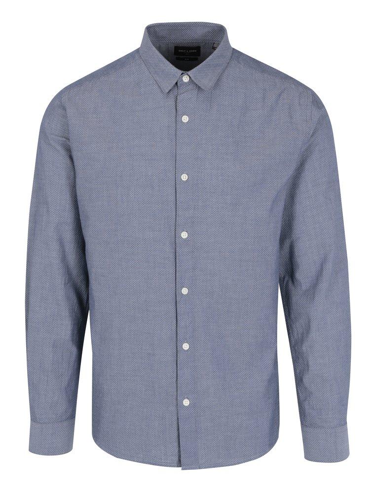 Modrosivá bodkovaná slim košeľa ONLY & SONS Bernhard