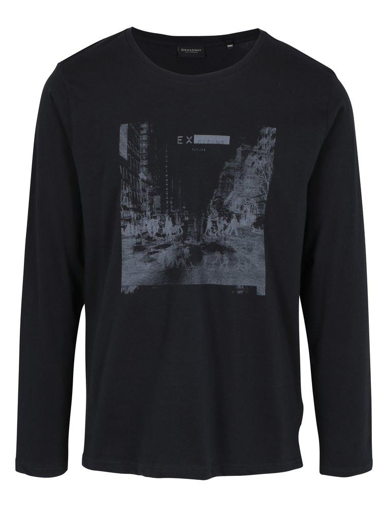 Čierne pánske tričko s dlhým rukávom Broadway Savage