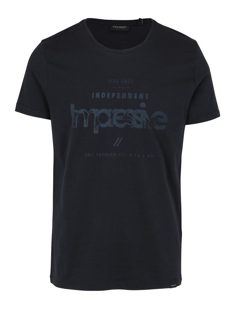 Tricou negru cu print pentru barbati - Broadway Bennie