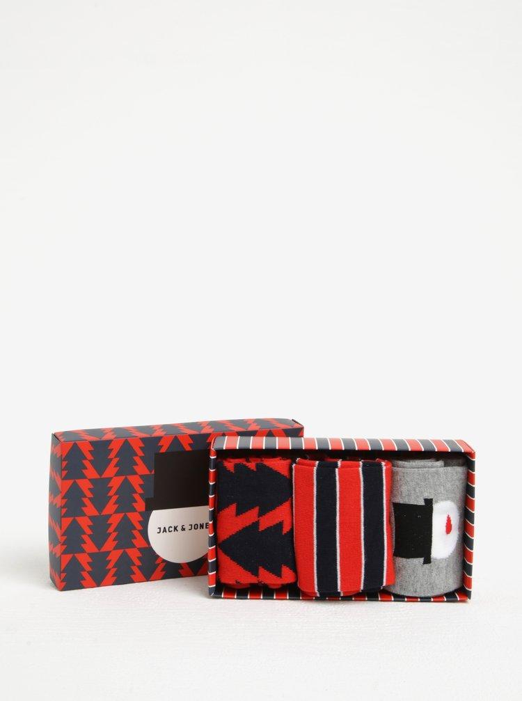 Set cadou de 3 perechi de sosete cu model de Craciun Jack & Jones Gift Box