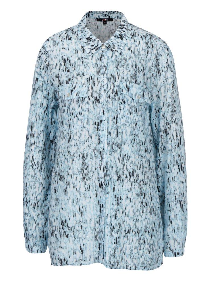 Camasa bleu cu print si buzunare la piept - Yest