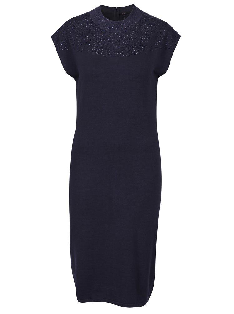 Rochie bleumarin tricotata fin cu aplicatii discrete - Yest