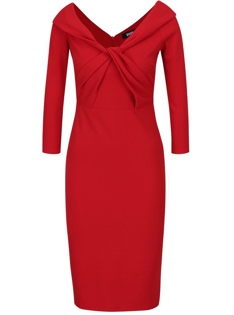 Červené pouzdrové šaty s uzlem v dekoltu ZOOT