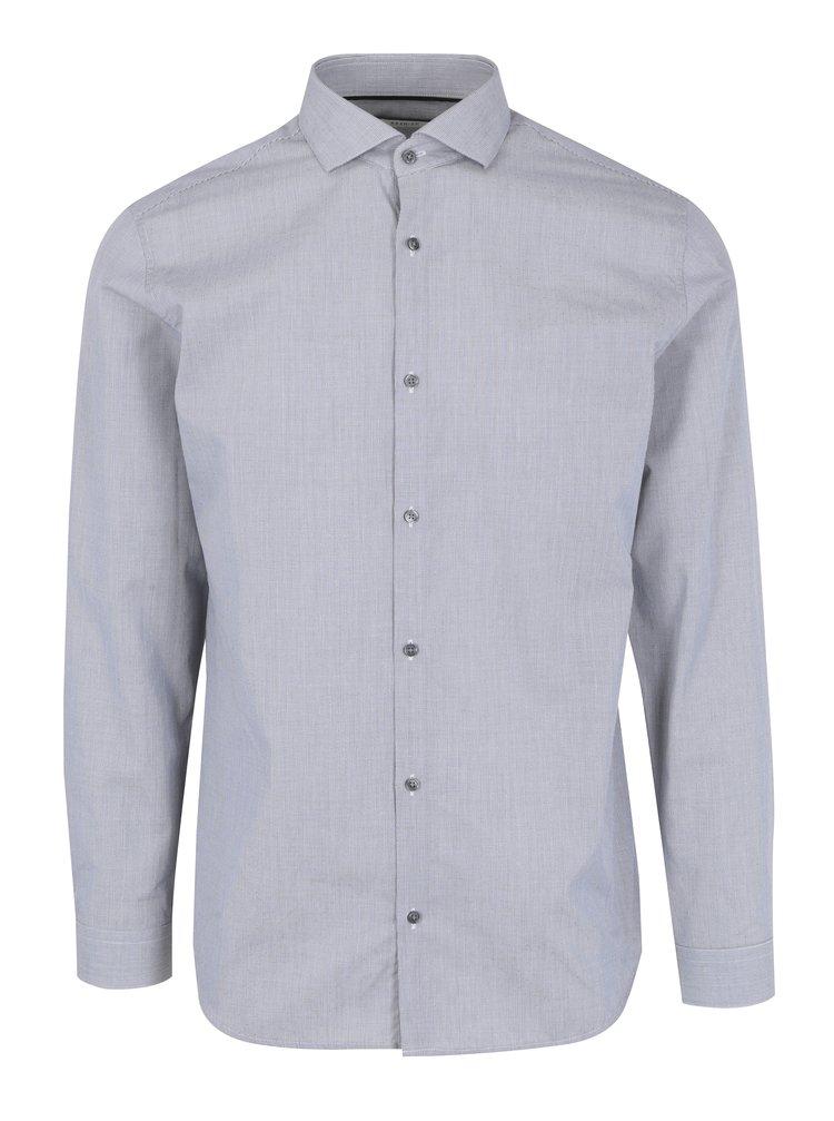 Camasa gri slim fit cu model marunt Jack & Jones Premium Salvador