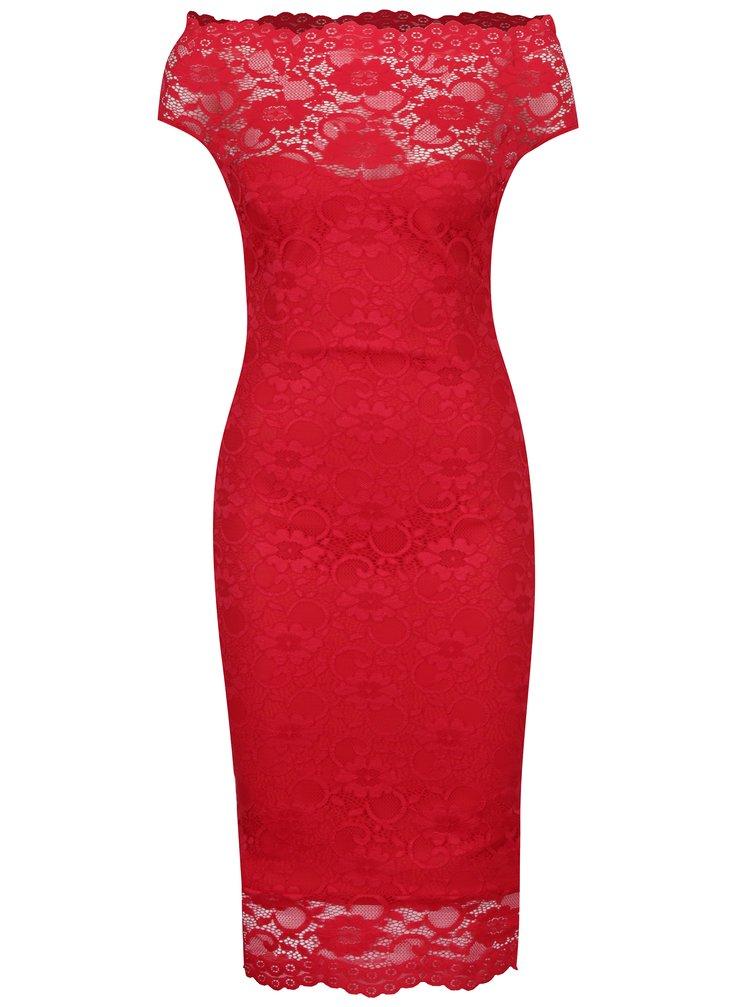 Červené pouzdrové krajkové šaty ZOOT