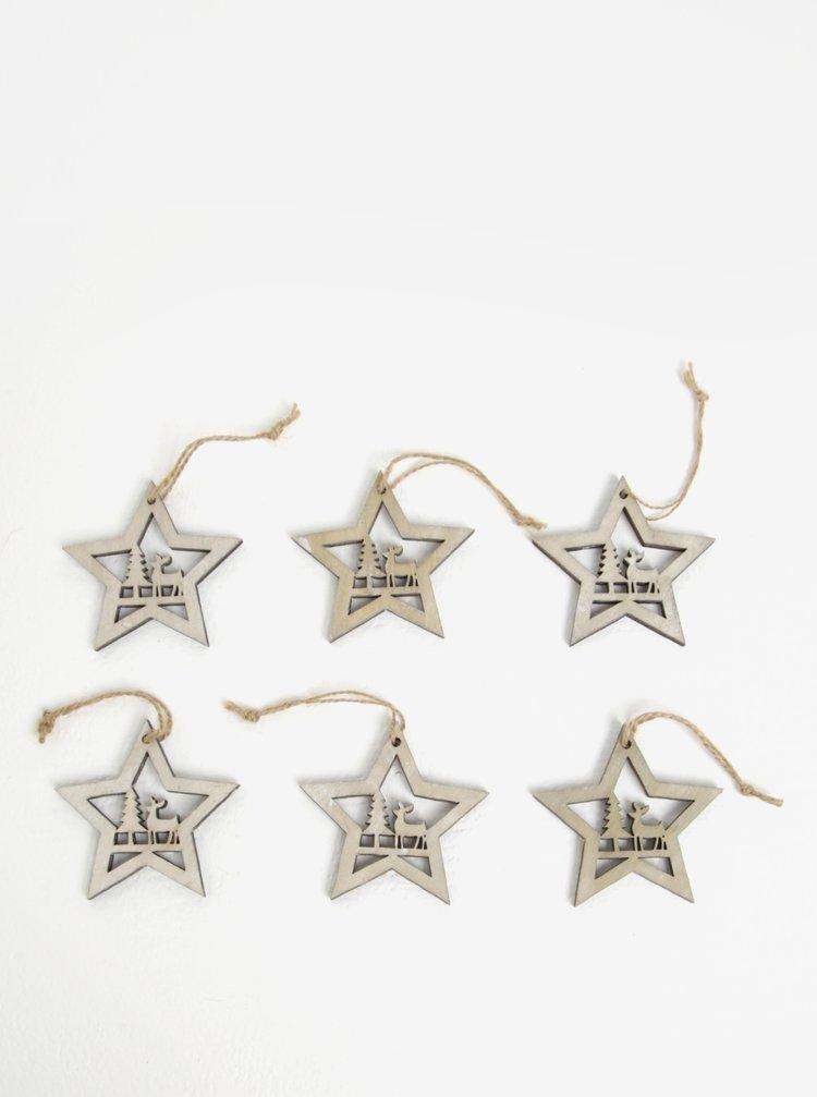 Set de 6 decoratiuni stele din lemn pentru brad - Dakls