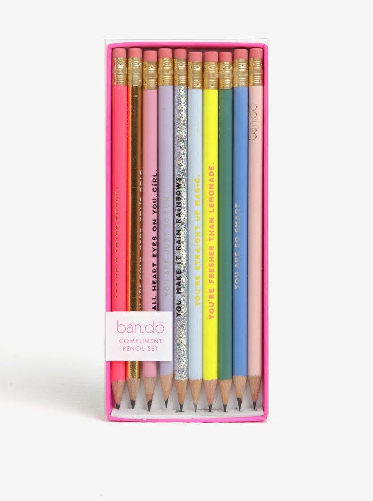 Set de 10 creioane cu radiera si mesaj - ban.do
