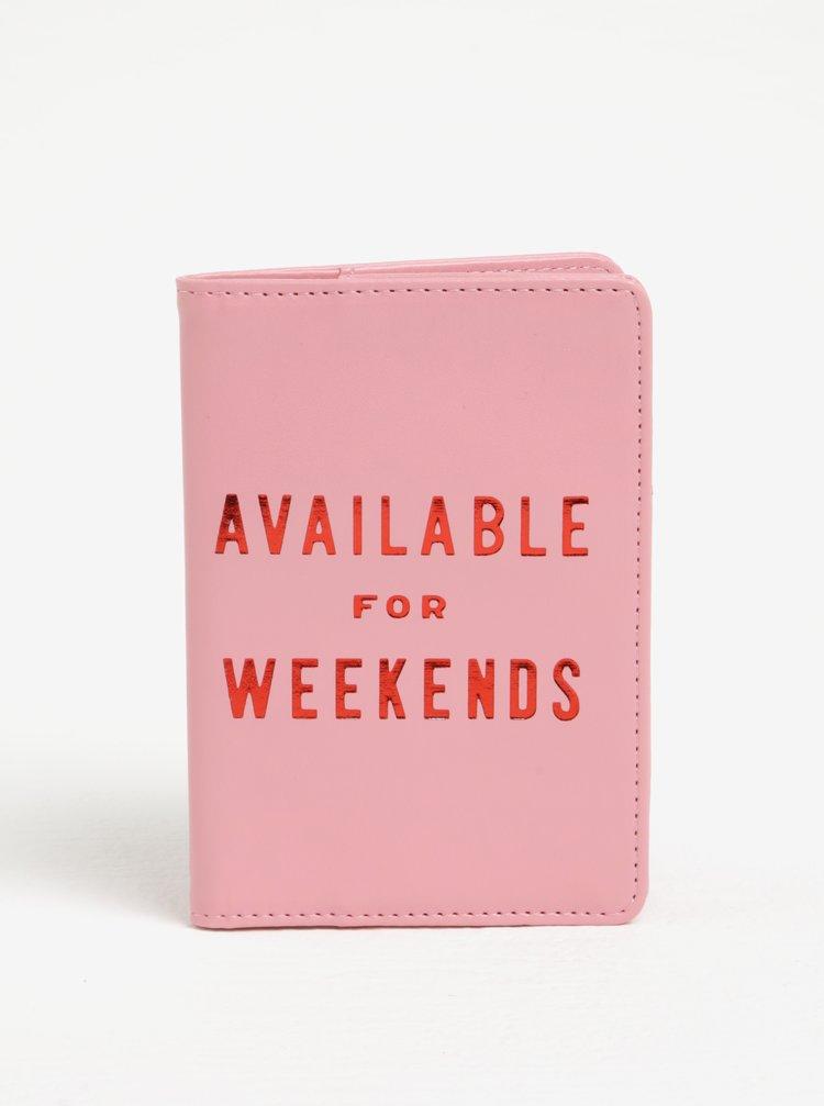 Růžové pouzdro na doklady s potiskem ban.do Available for weekends