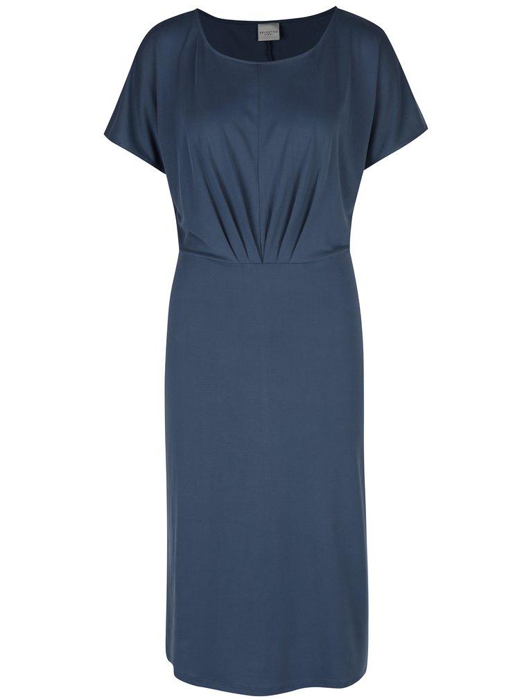 Modré šaty s krátkým rukávem Selected Femme Sinda