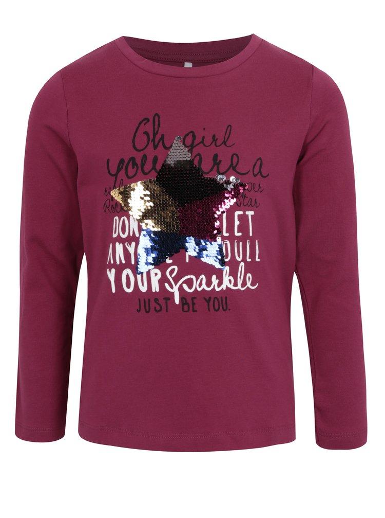 Vínové holčičí tričko s flitry name it Happa