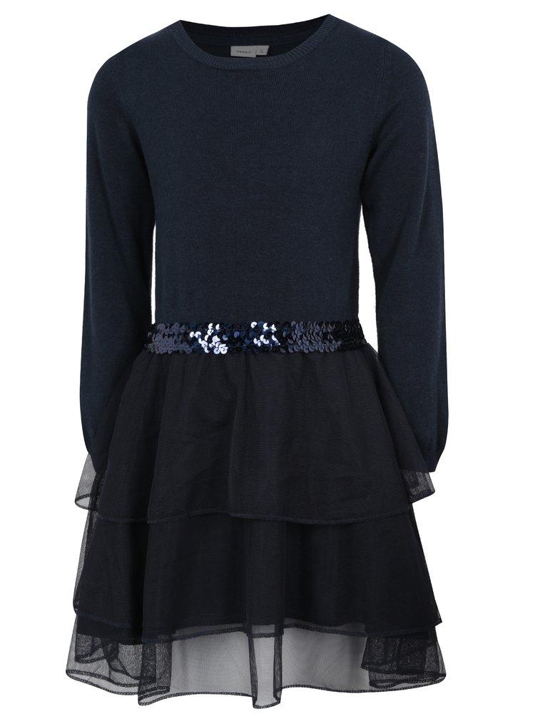 Tmavě modré holčičí svetrové šaty s tylovou sukní name it Palukka