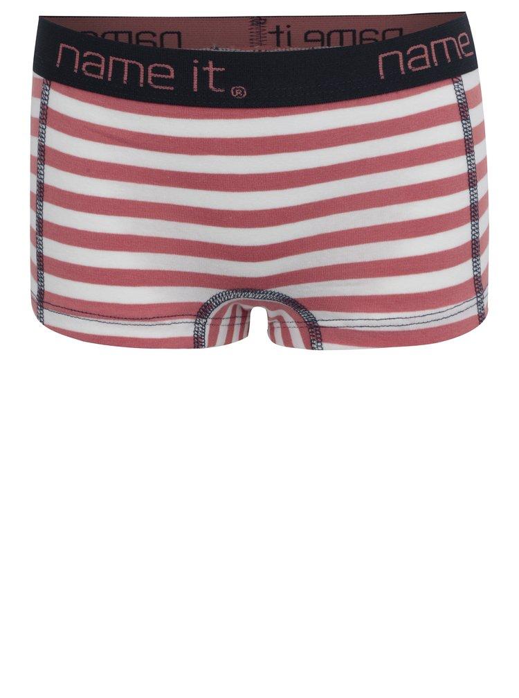 Růžovéo-krémové holčičí pruhované kalhotky name it Vionava