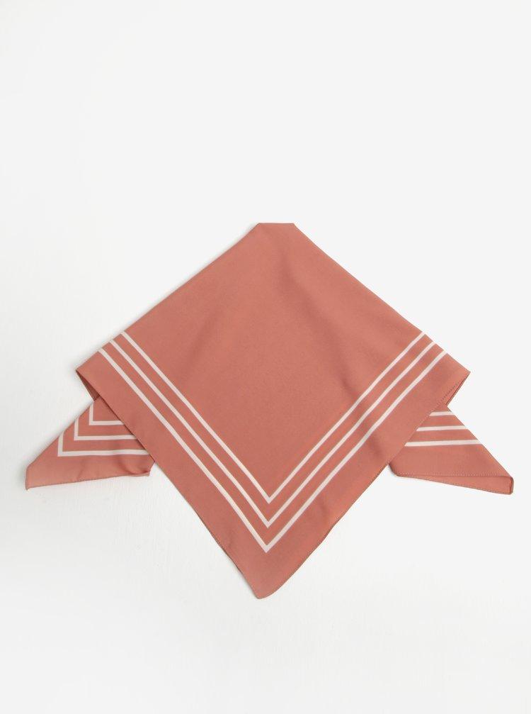 Esarfa roz&alb in dungi Pieces Rachel