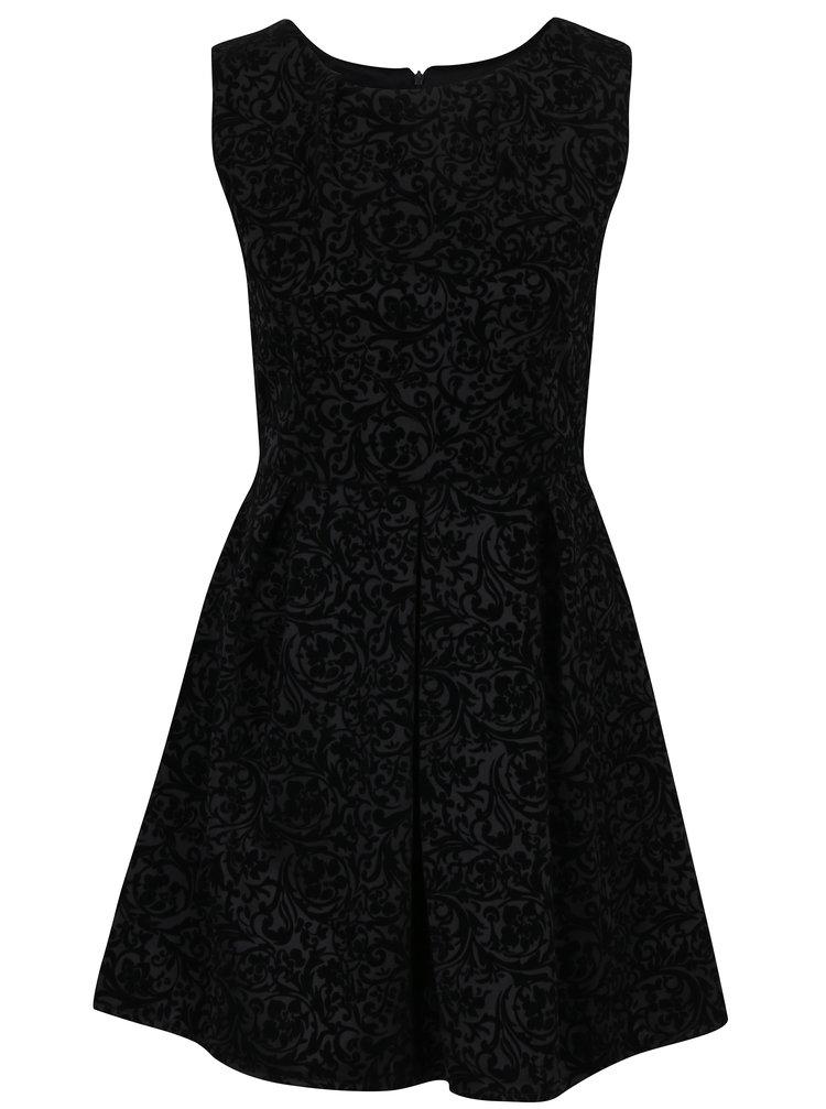 Černé vzorované šaty bez rukávů Haily´s Milena