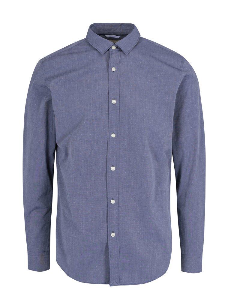 Camasa slim fit albastra cu model marunt Selected Homme