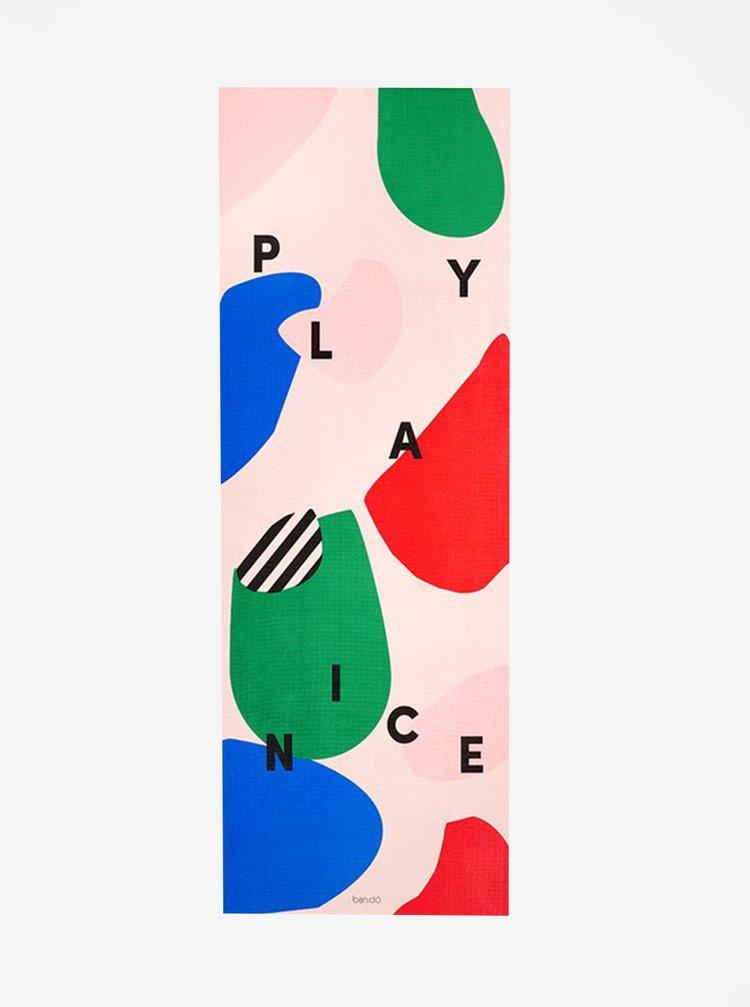 Modro-ružová podložka na cvičenie s potlačou ban.do Play Nice