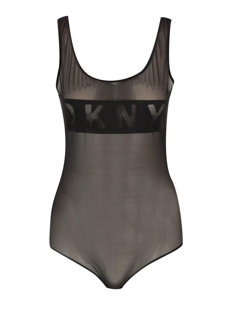 Body negru din tul cu logo - DKNY
