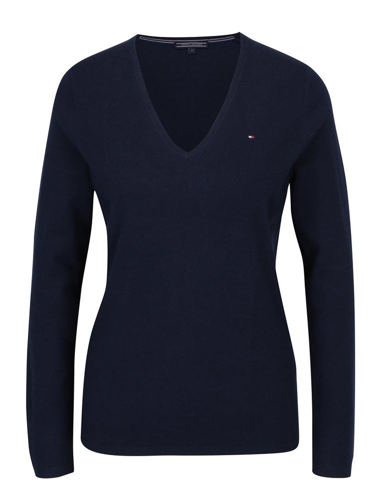 Tmavomodrý dámsky sveter s véčkovým výstrihom Tommy Hilfiger New Ivy