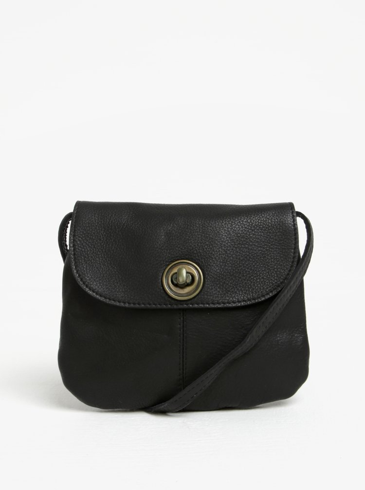 Geanta crossbody neagra din piele naturala - Pieces Totally Royal
