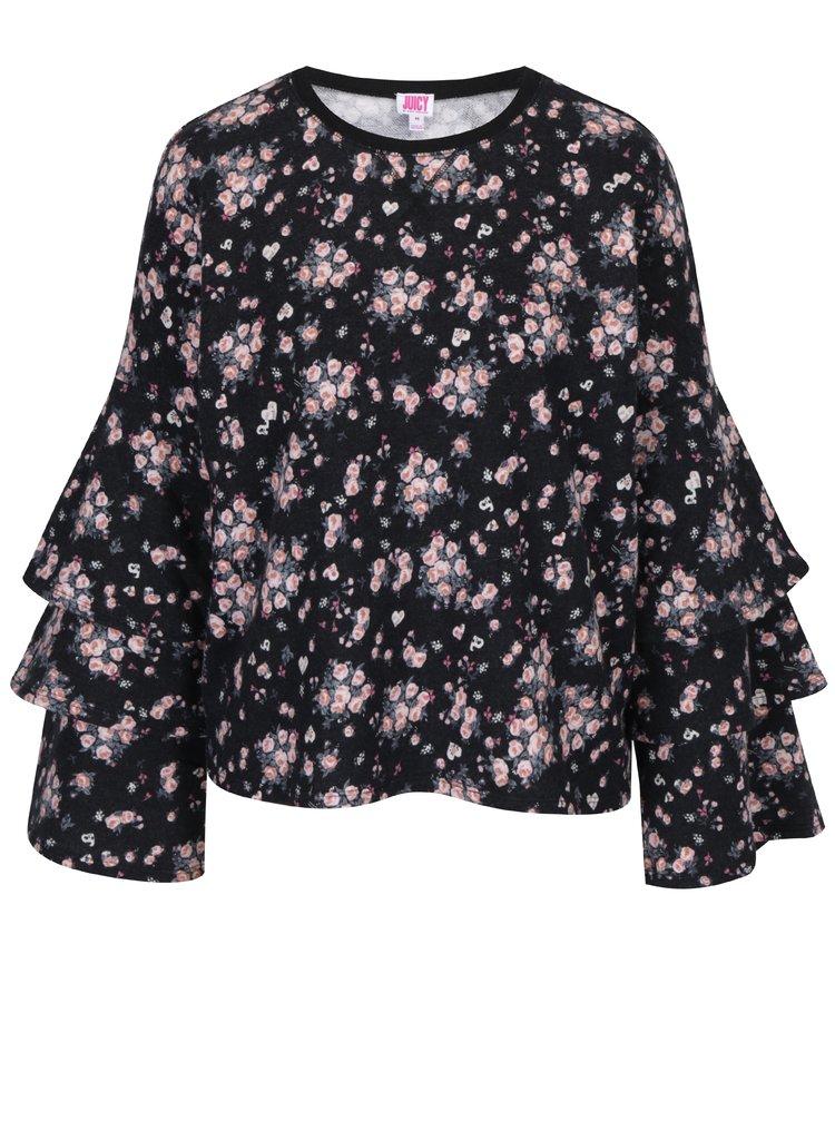 Čierna kvetovaná mikina s volánmi na rukávoch Juicy Couture