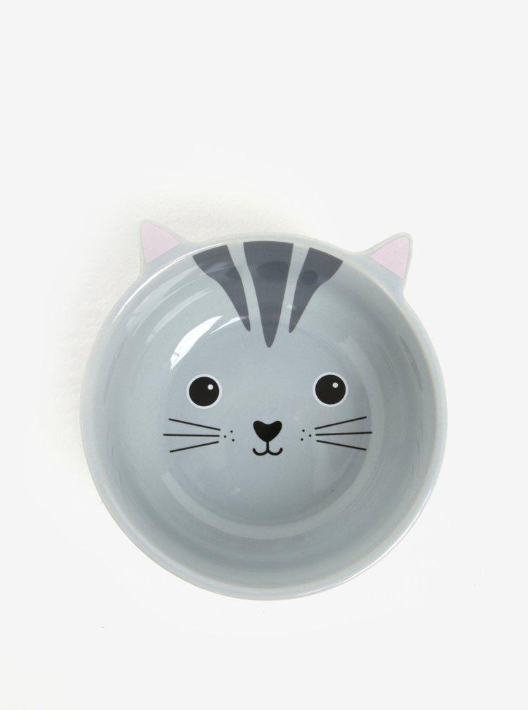 Šedá miska ve tvaru kočky Sass & Belle