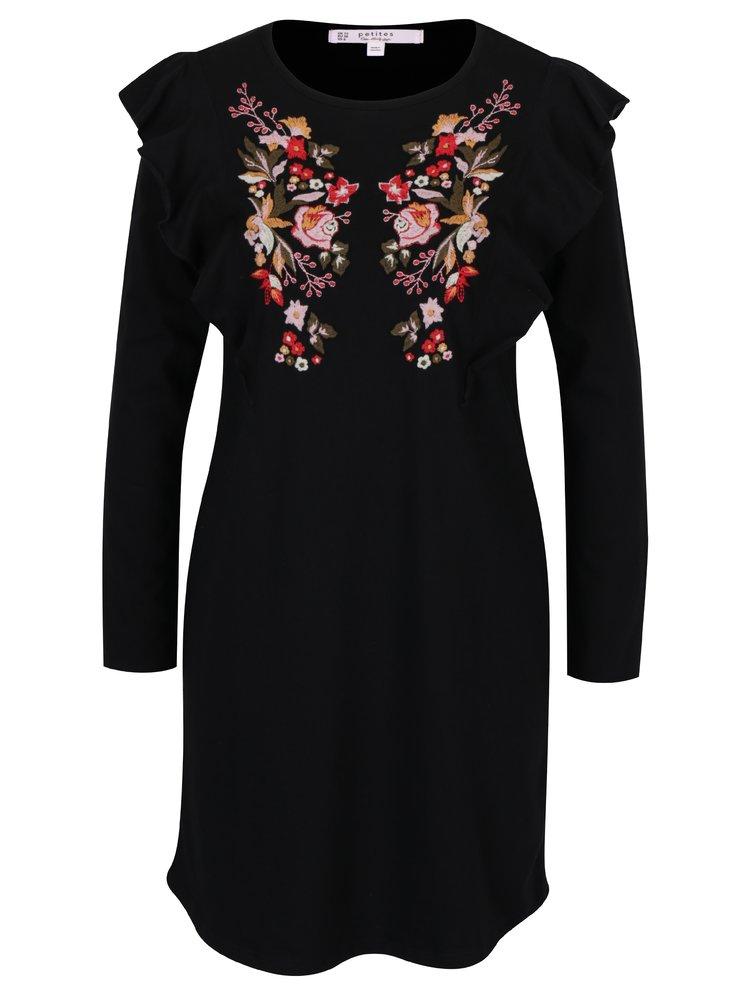 Černé šaty s výšivkami květin ve tvaru motýla Miss Selfridge