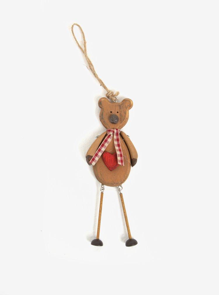 Hnedá drevená vianočná dekorácia v tvare medveďa Sass & Belle