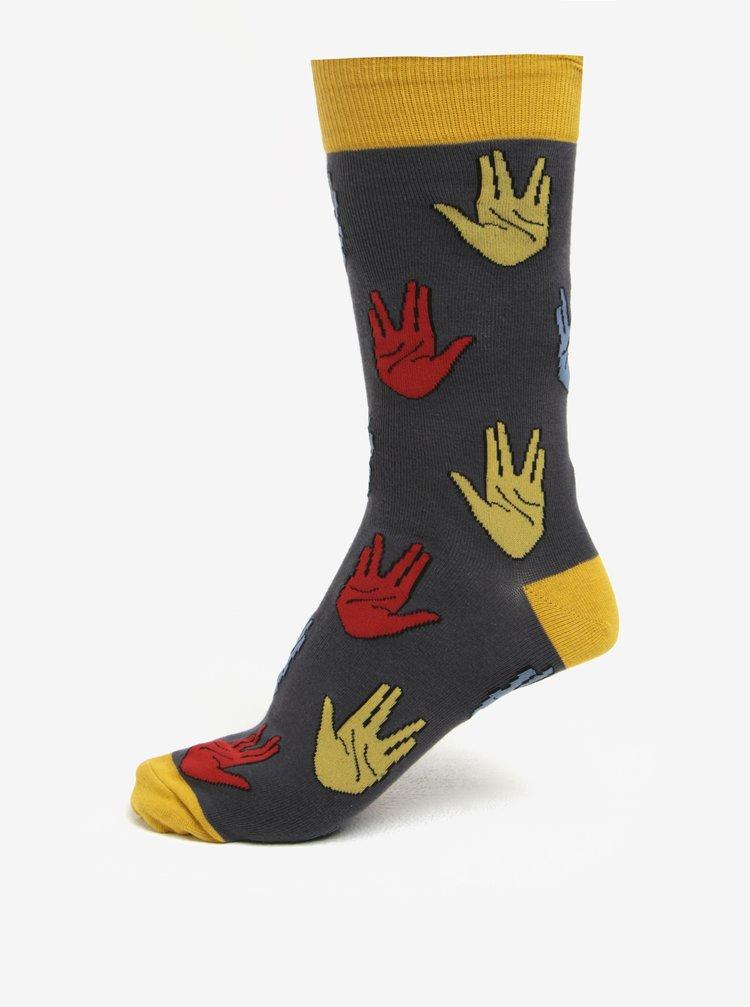 Sosete barbatesti cu print gri & galben - Sock It to Me Salutations