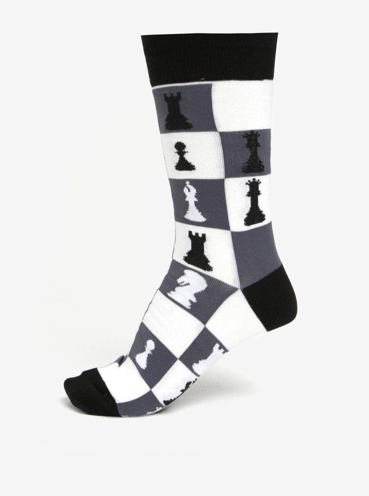 Sosete negre cu print tabla de sah pentru barbati - Sock It to Me Checkmate
