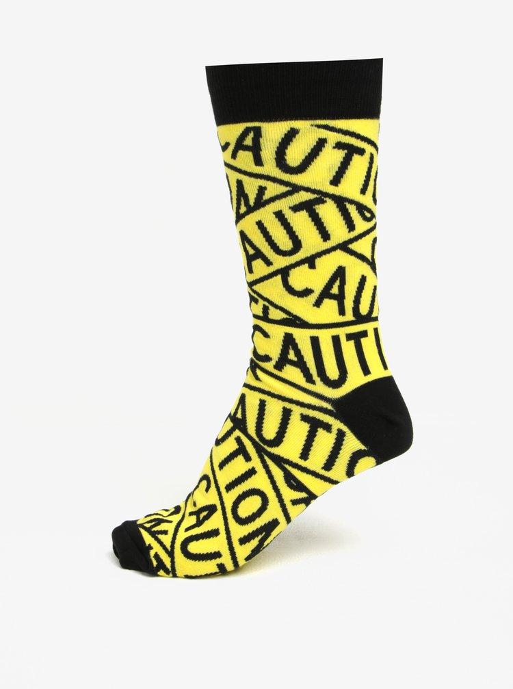 Žluto-černé pánské vzorované ponožky Sock It to Me Caution Tape