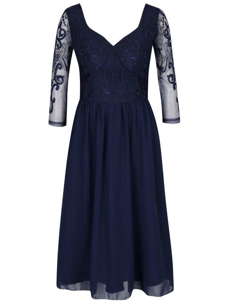 Tmavě modré šaty s tylovou sukní Chi Chi London Nisha