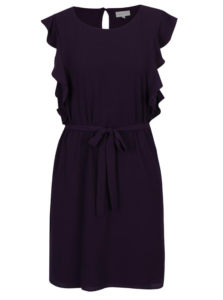 Tmavě fialové rovné šaty s volány na ramenou Apricot