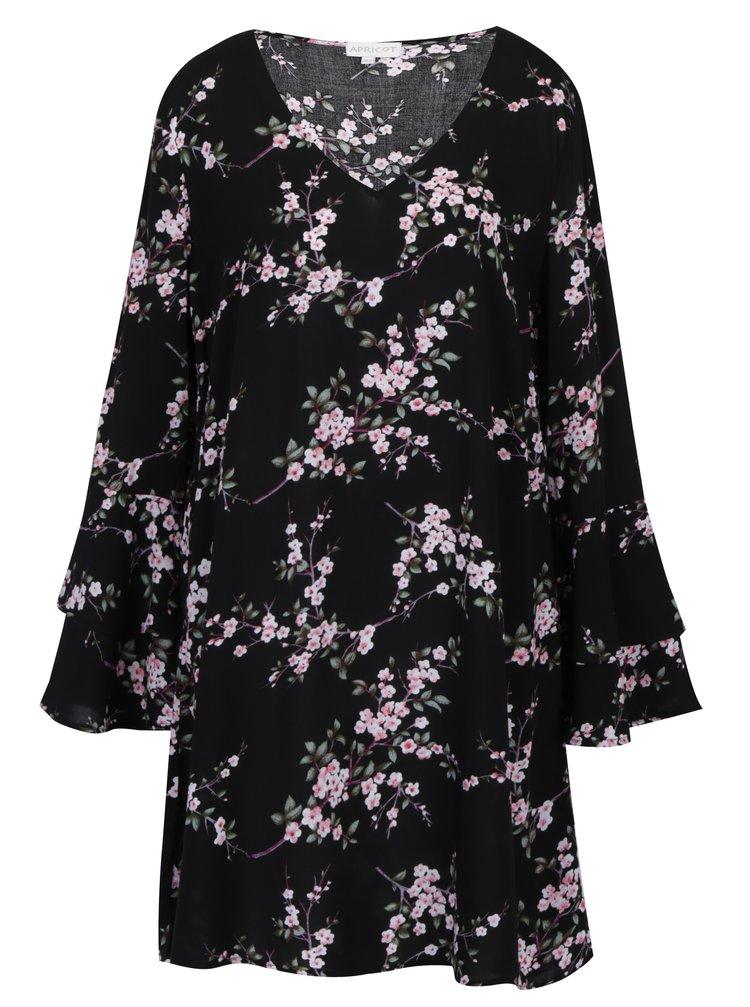 Černé vzorované šaty s dlouhým volánovým rukávem Apricot