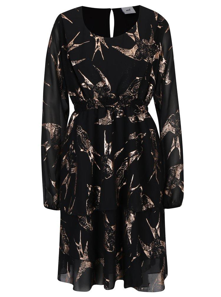 Rochie neagra cu print pentru femeile insarcinate - Mama.licious Bird