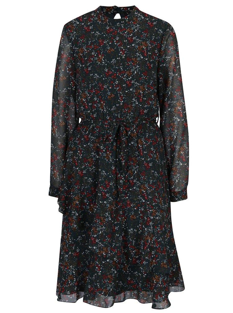 Tmavě zelené květované šaty s průsvitným rukávem VERO MODA Camille