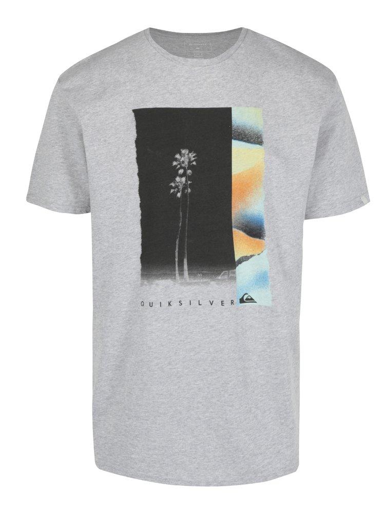 Tricou gri regular fit cu print pentru barbati - Quiksilver Meridian