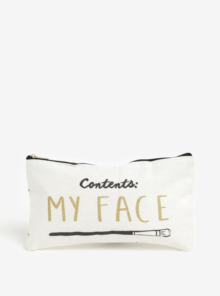 Geanta crem deschis pentru cosmetice cu print - CGB My face