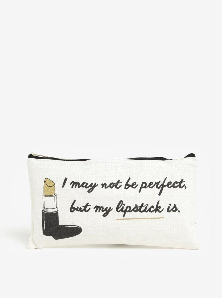 Geanta crem deschis pentru cosmetice cu print - CGB Lipstick