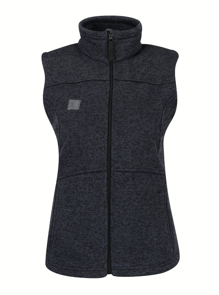 Vesta tricotata gri inchis cu guler inalt LOAP Gigi