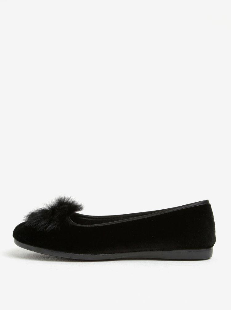Papuci negri de casa cu puf decorativ - OJJU