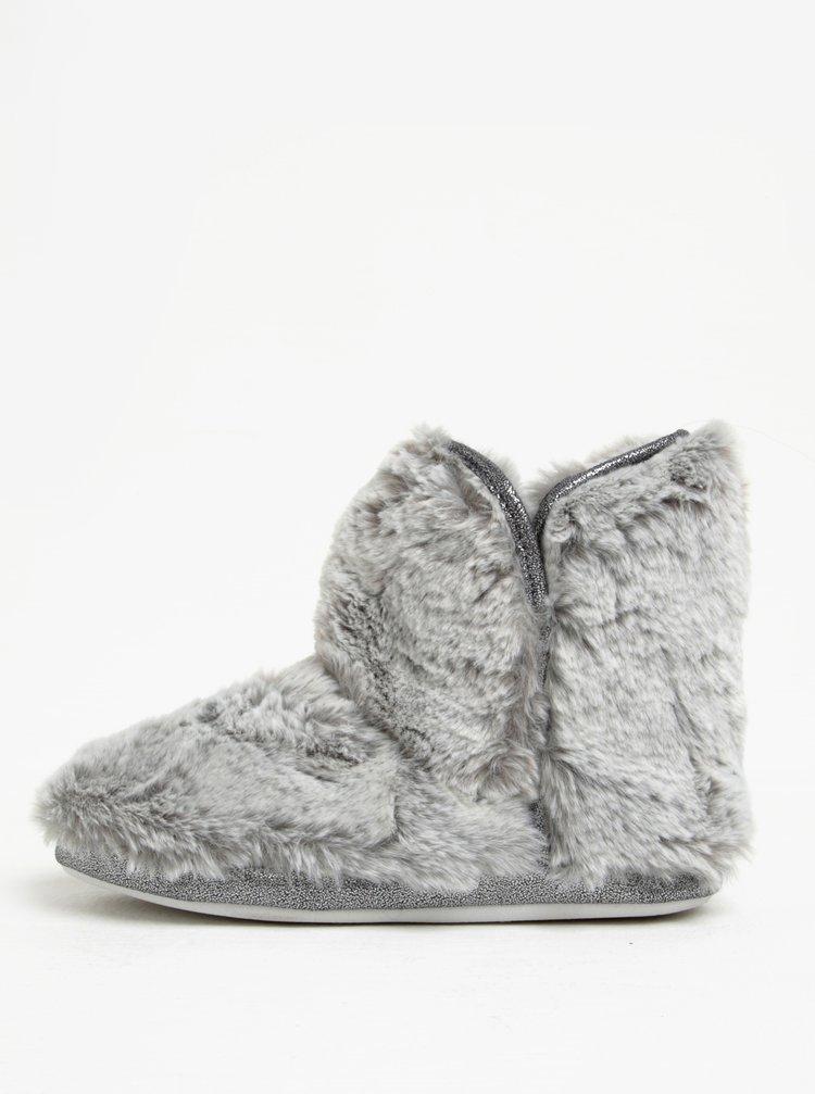 Papuci tip gheata gri cu blana artificiala - Dorothy Perkins