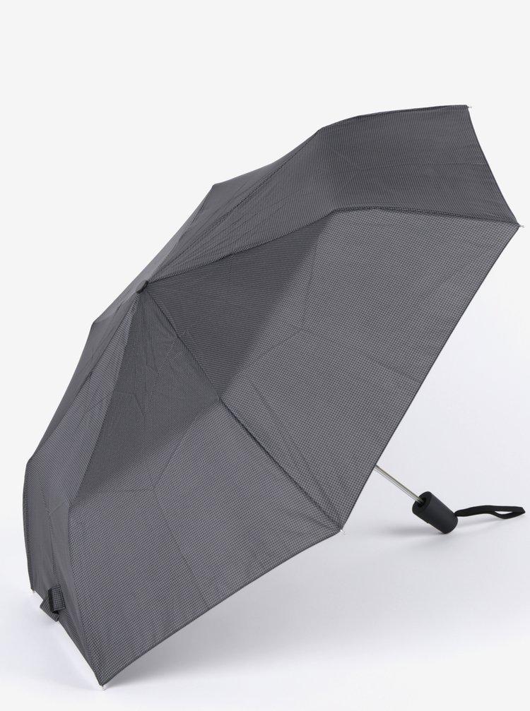 Umbrela gri&negru pliabila cu print pentru barbati - Derby
