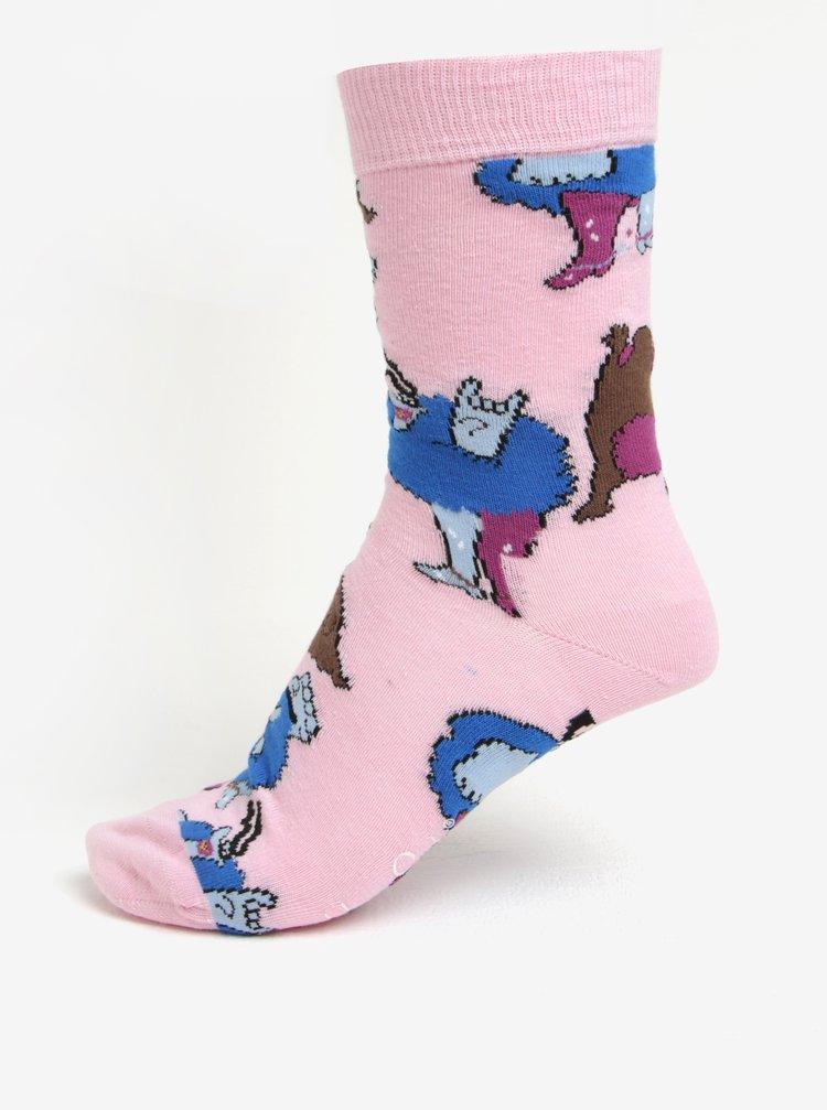 Růžové unisex vzorované ponožky Happy Socks Glove Chief