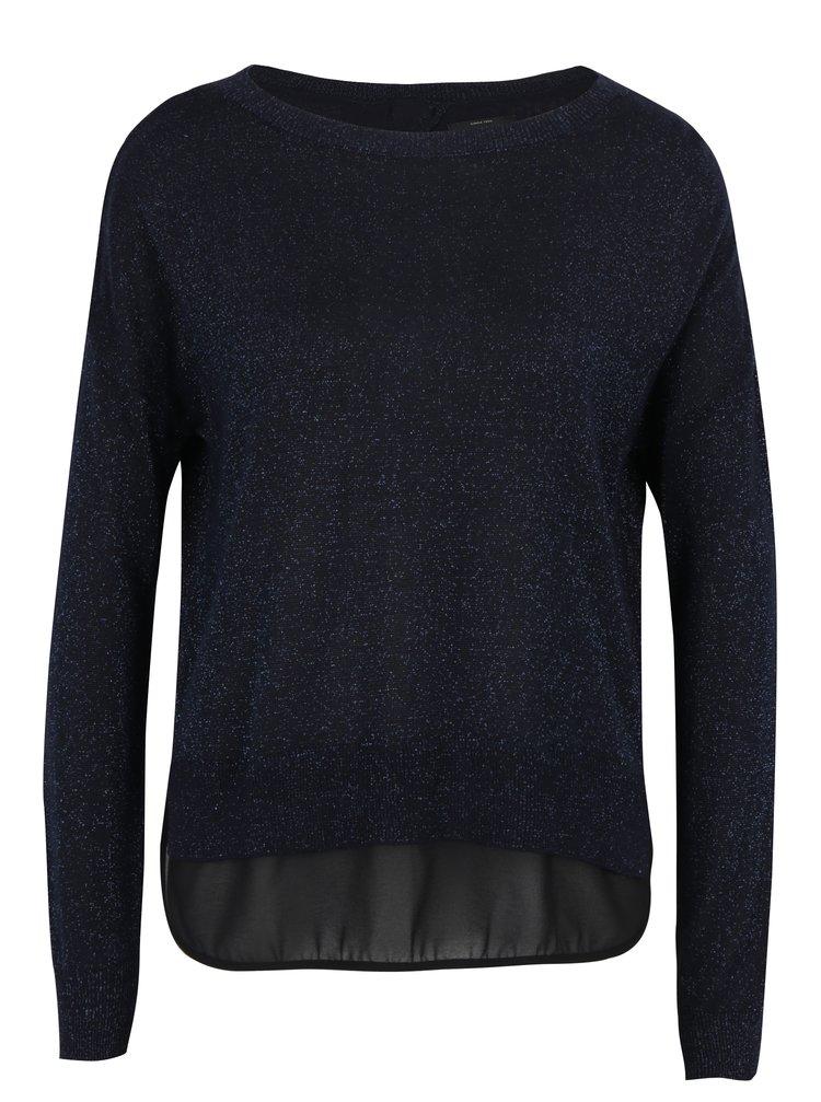 Tmavě modrý třpytivý svetr s průsvitným detailem na zádech ONLY Shen