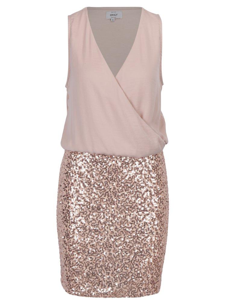 Světle růžové šaty s překládaným topem a sukní s flitry ONLY Zille