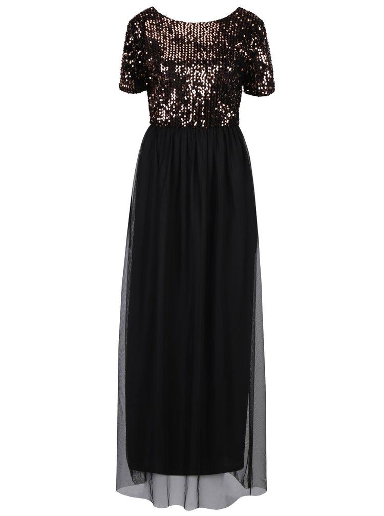 Černé maxi šaty s tylovou sukní a topem s flitry v bronzové barvě ONLY Confidence