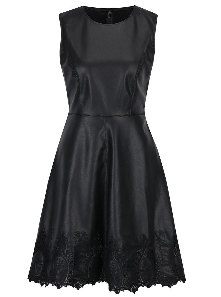 Černé koženkové šaty s krajkovými detaily ONLY Macy